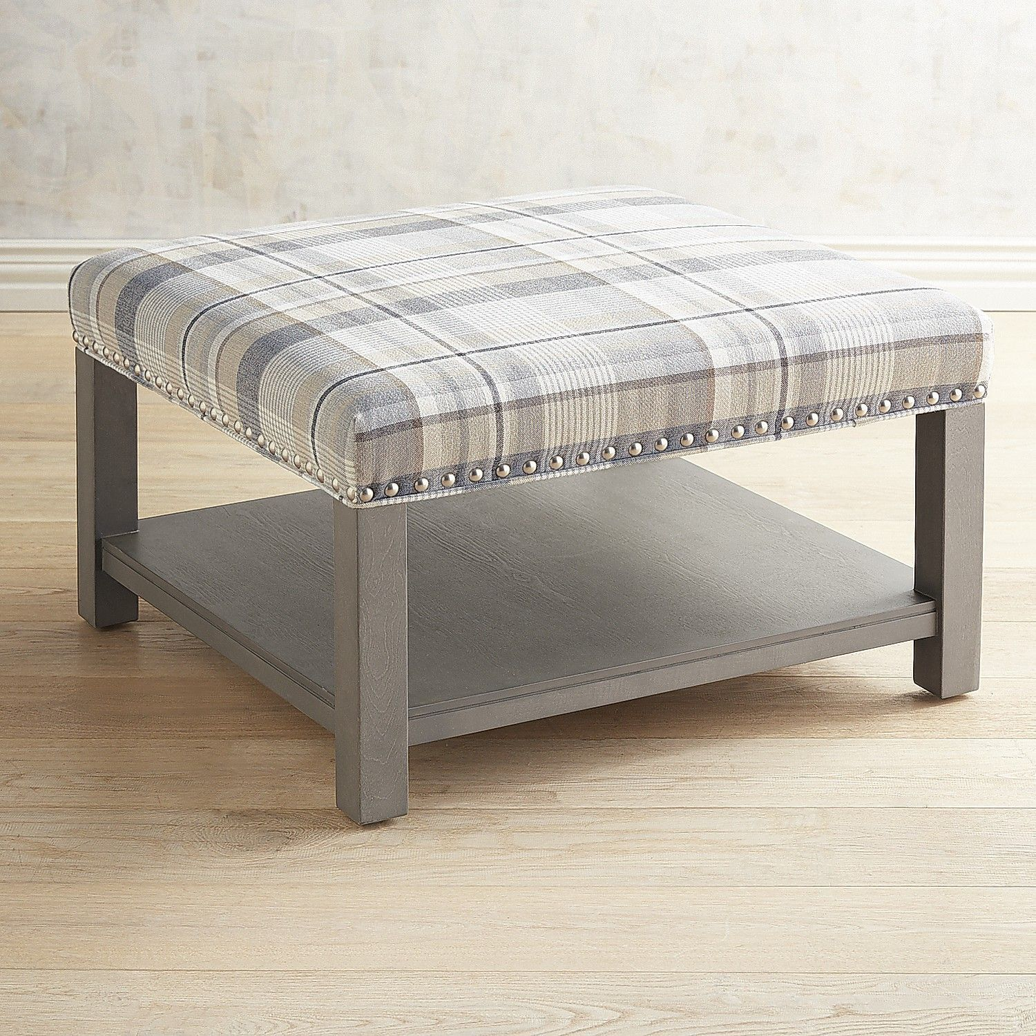 Peachy Liard Gray Plaid Square Cocktail Ottoman Products Gamerscity Chair Design For Home Gamerscityorg