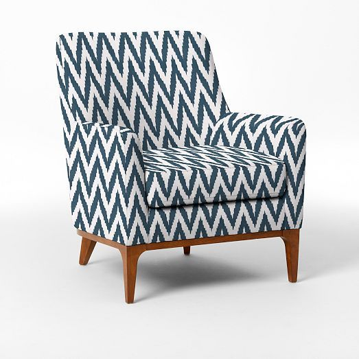 Sloan Upholstered Chair U2013 Blue Lagoon Chevron | West Elm