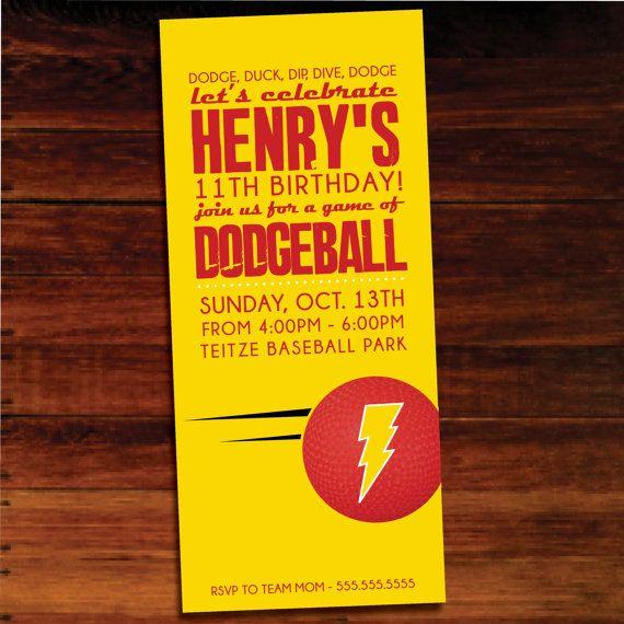 dodgeball invitations set of 12 by polkaprints on etsy 1500