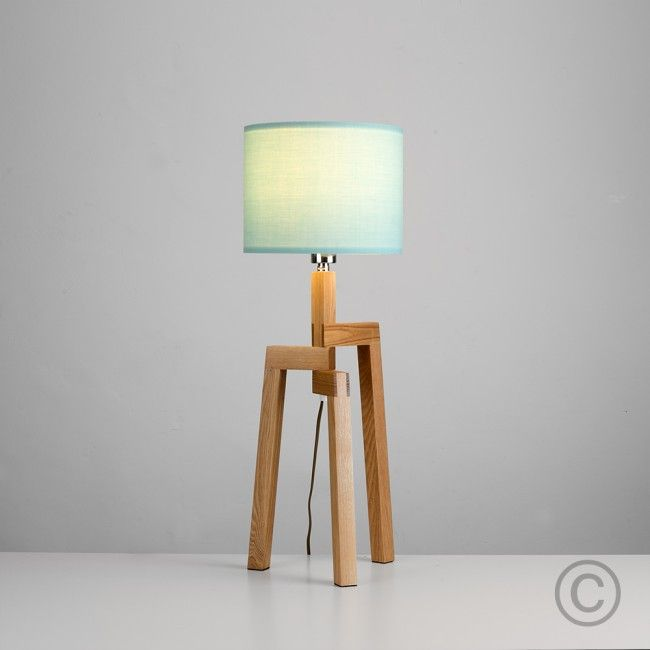 Scandinavian Wooden Tripod Table Lamp With Coloured Shade
