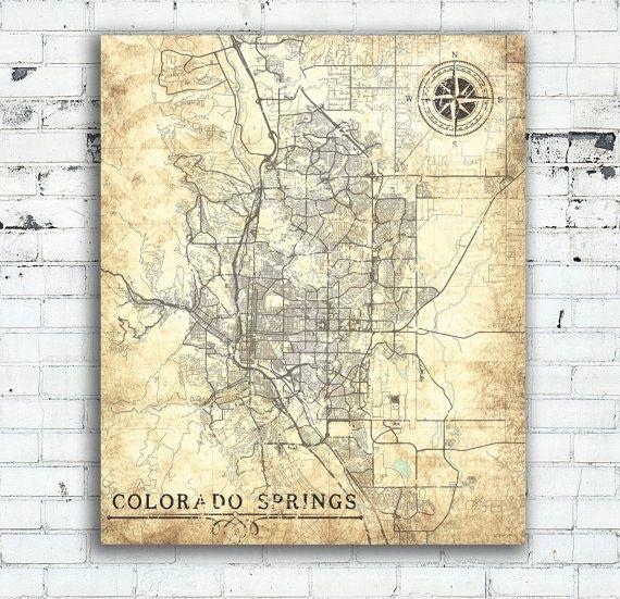Colorado Springs Vintage Map Colorado City Vintage Antique Old Map - Usa map colorado