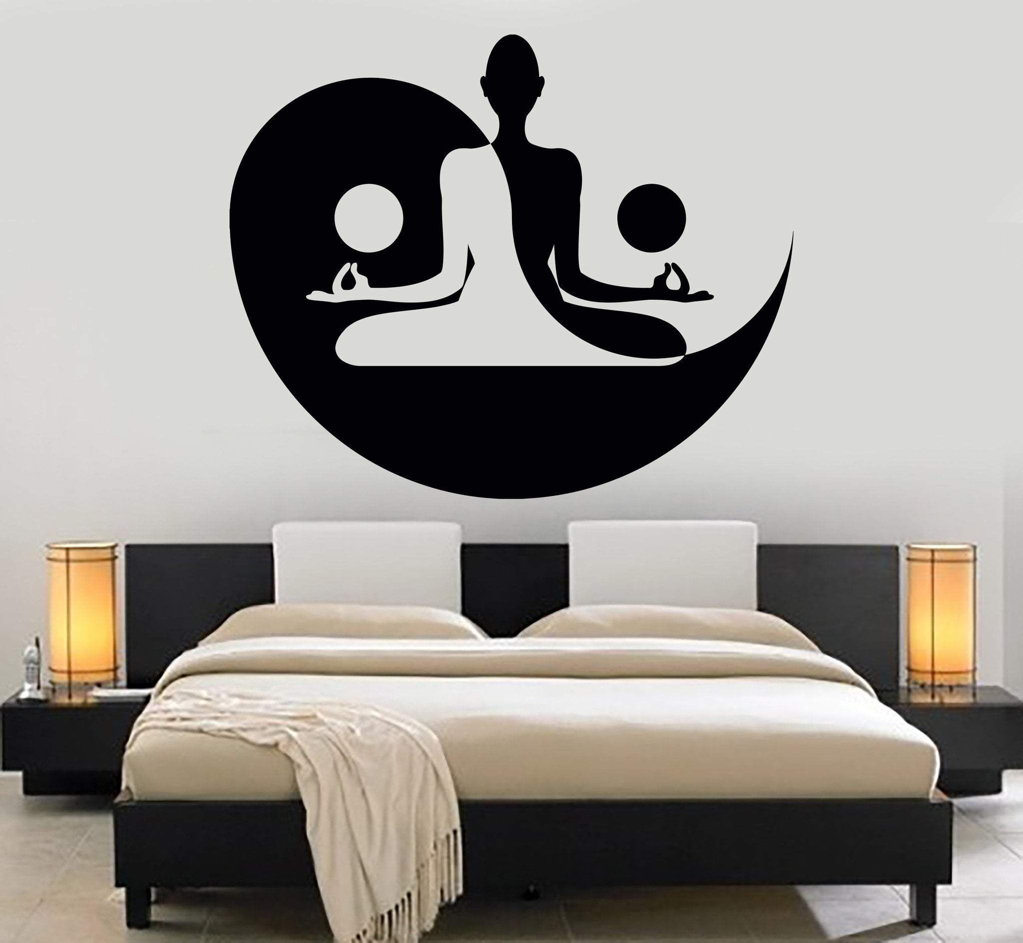 Vinyl Wall Decal Yin Yang Yoga Zen Meditation Bedroom Decor