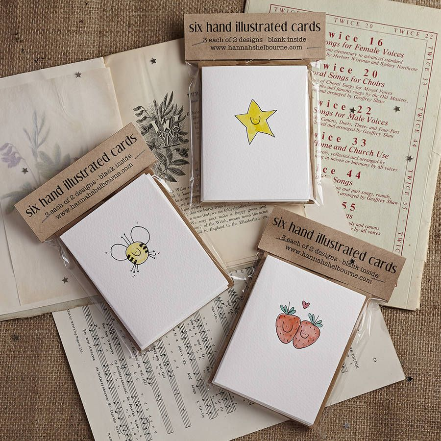 Pack Of Six Handmade Star And Present Cards