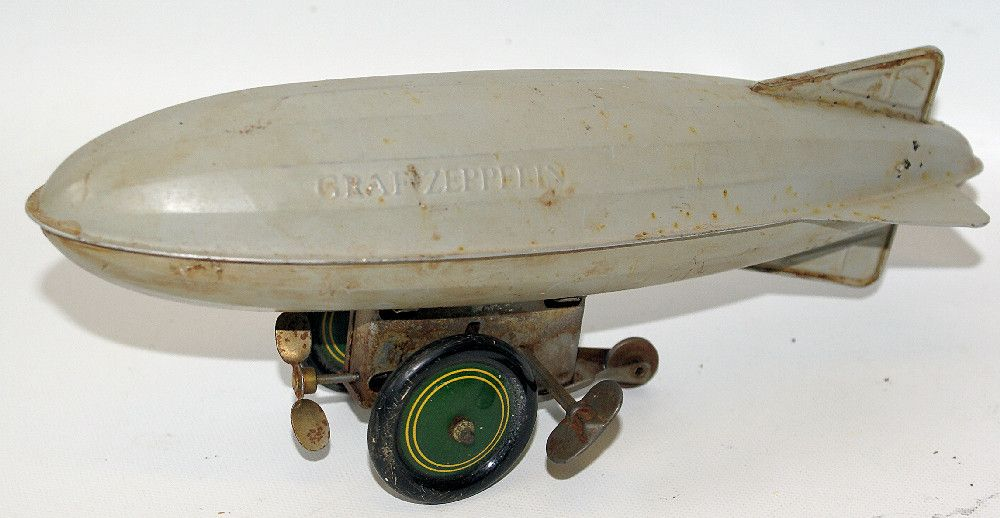Vintage Tin Clockwork Wind-up GRAF ZEPPELIN Airship, Perfect Working Condition
