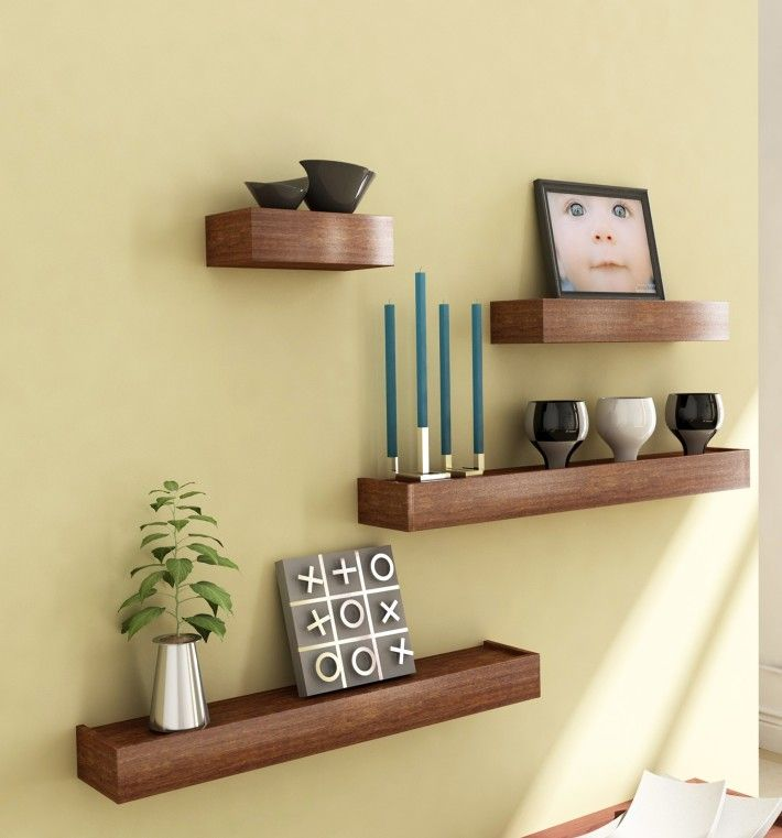 furniture-unique-brown-solid-wood-vertigo-set-of-four-wall-shelves ...