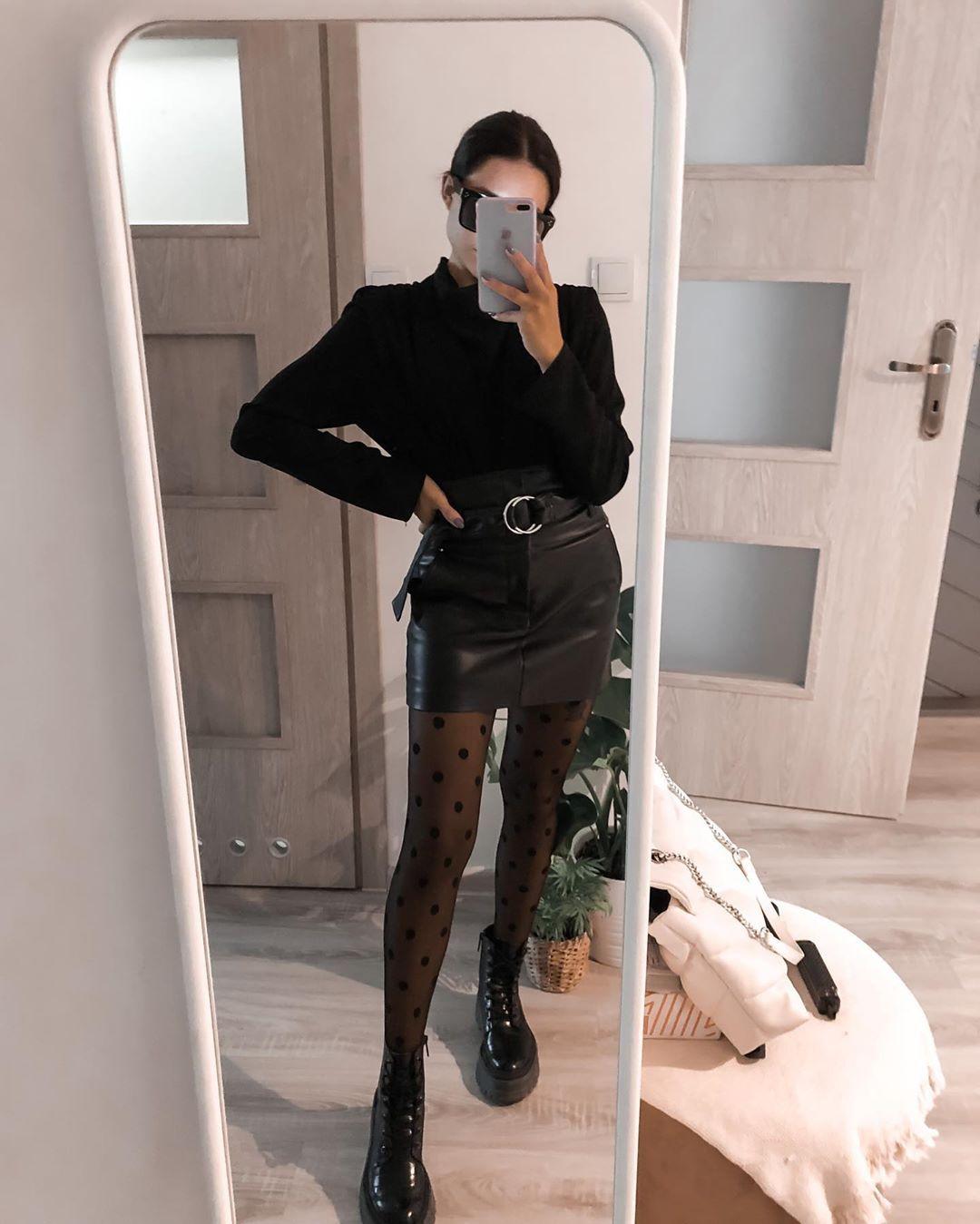 """Magdalena Kokocińska on Instagram: """"Today style🖤#ootd #outfit #black #dots #skirt #blackshirt #shirt #bershka #zara #boots #polishgirl #polskadziewczyna #warszawa #style…"""""""