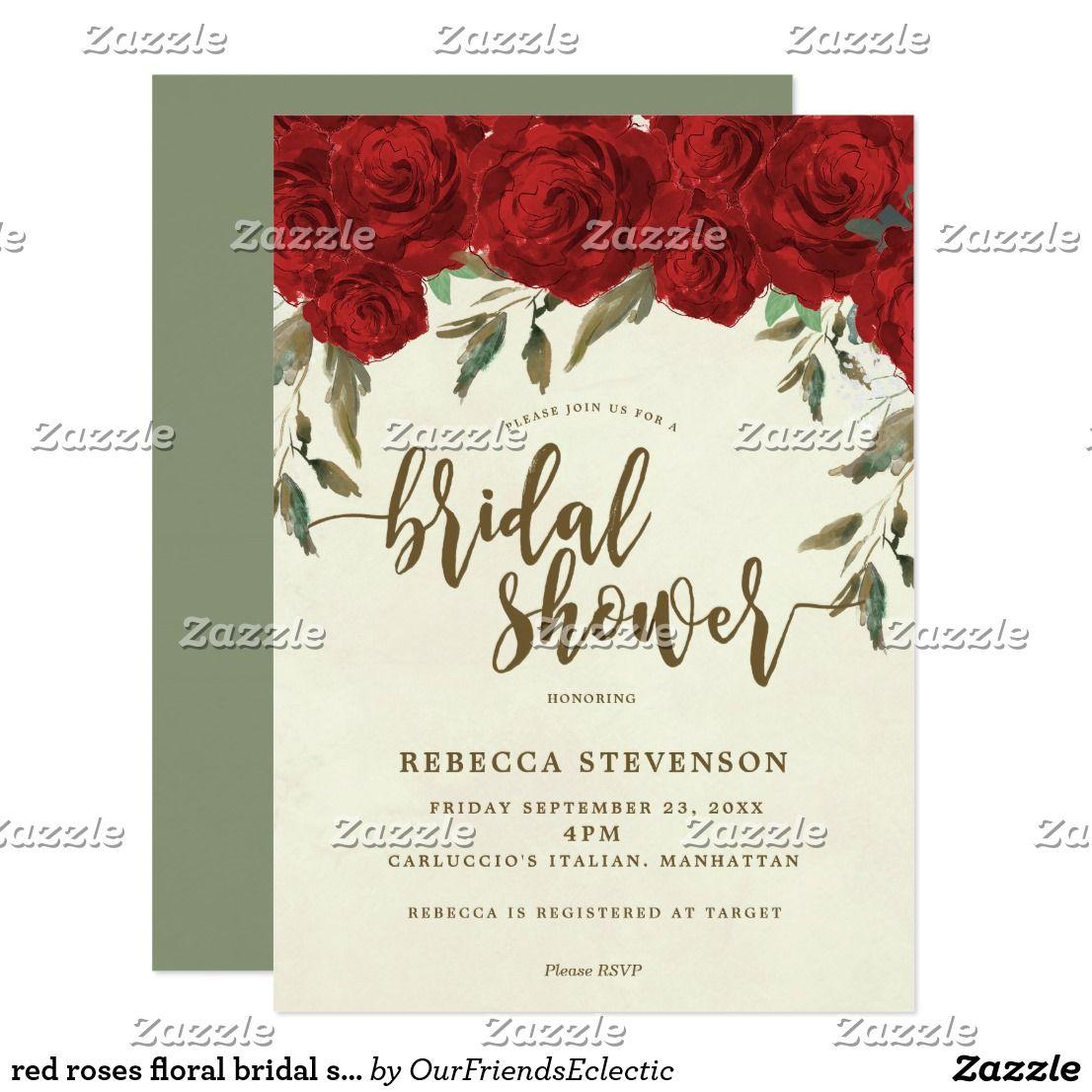 Red roses floral bridal shower invitation | Red roses, Bridal ...