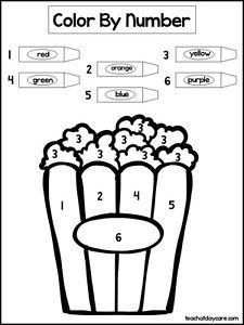 Single Laminated Popcorn Color By Number Art Time Worksheet Daycare Activity Colored Popcorn Time Worksheets Coloring Pictures