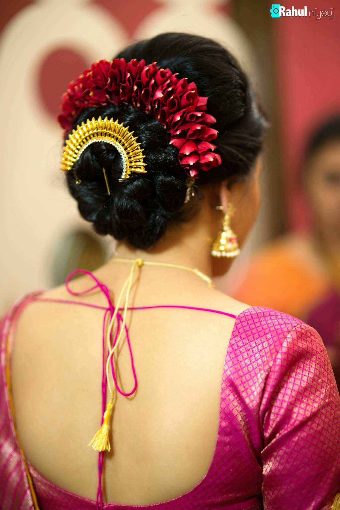 What A Beautiful Large Low Bun With Gajra Juda Pun Care However Should Be Taken Before Adopting Suc Indian Bridal Hairstyles Bun Hairstyles Bridal Hair Buns
