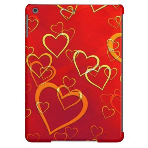 Golden Hearts on Red iPad Air Case