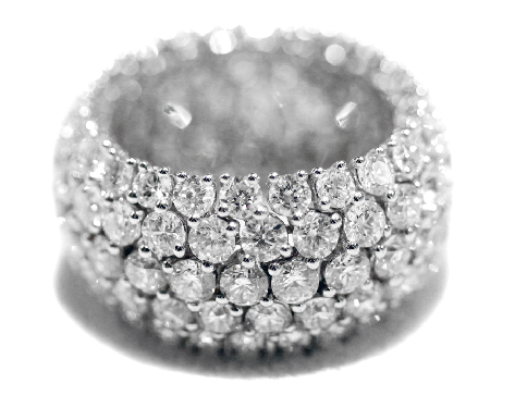 #Anello fascione morbido,#diamanti,#oro bianco 18Kt. Diamanti Ct. 9,64.