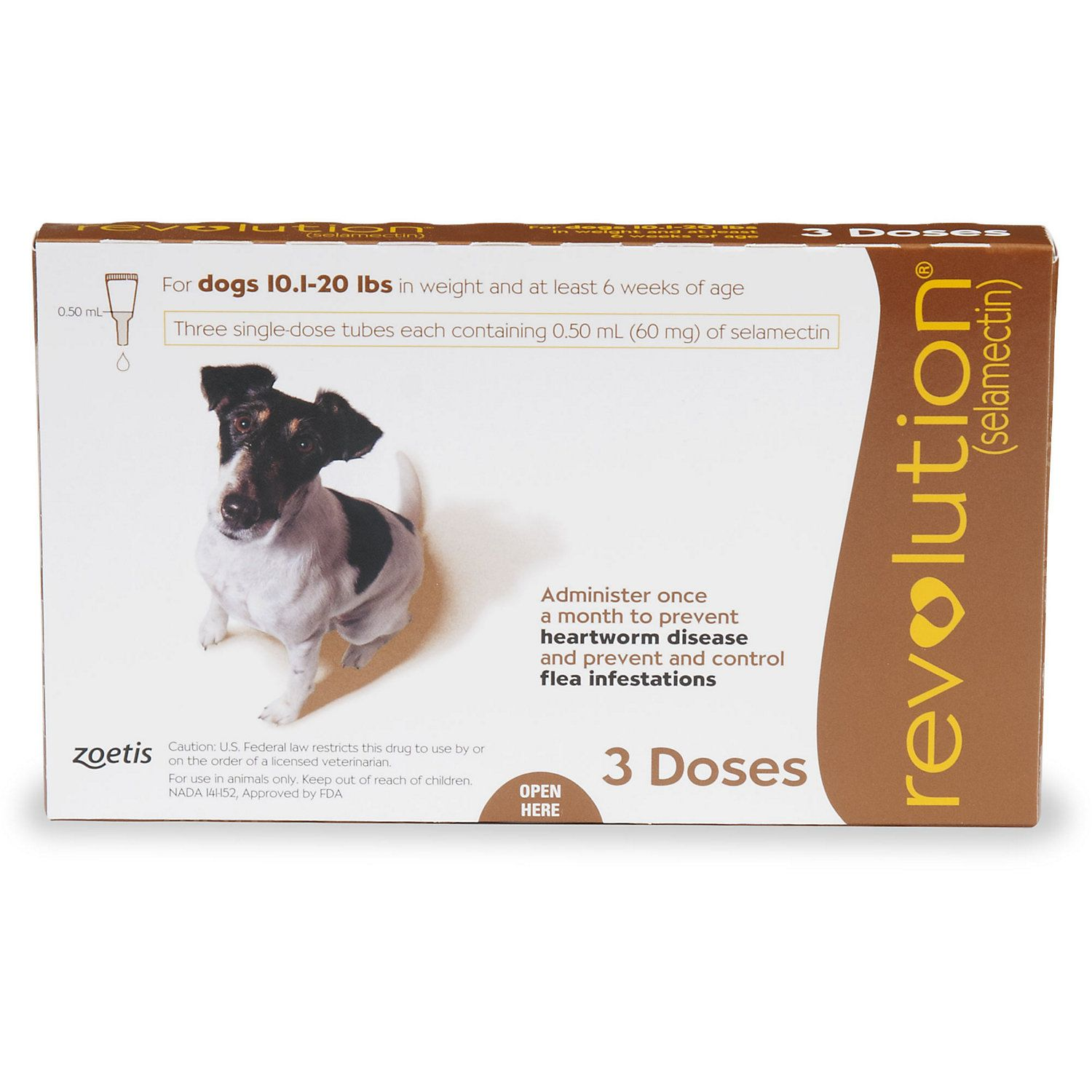 Revolution Topical Solution For Dogs 10 1 20 Lbs Brown 3 Pack American Dog Dogs Vet Clinics