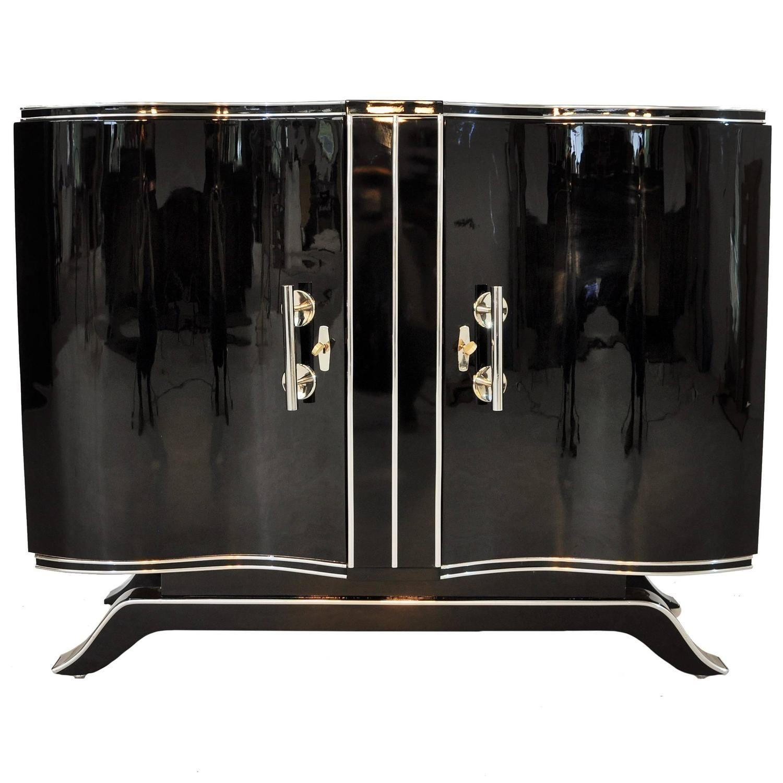 Art Deco High Gloss Commode With Big Chrome Handles High Gloss  # Meuble Tv Kenton