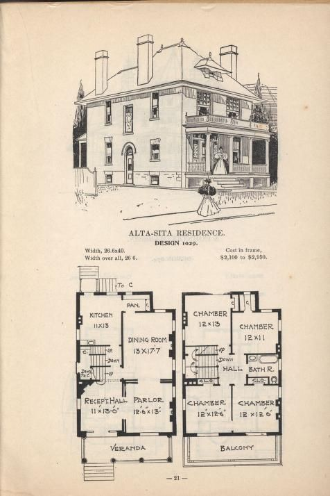 Artistic City Houses No 43 Square House Plans Vintage House Plans City House
