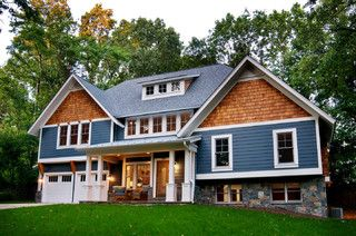 Cadet Blue Siding White Trim Cedar Accents And Stone Love It Moving On Up Craftsman Exterior House Exterior Blue Exterior House Colors House Exterior