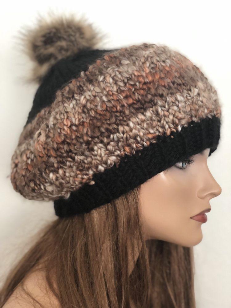2a73c07ba6abc Hand Knits 2 Love Hat Beanie Slouch Beret Designer Fashion Faux Fur Pom Pom  Eart
