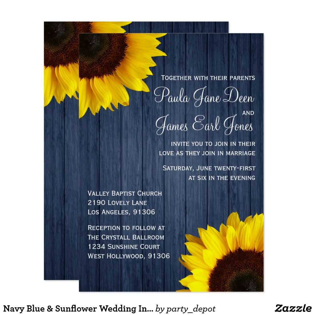 Navy Blue Sunflower Wedding Invitation Sunflower Wedding