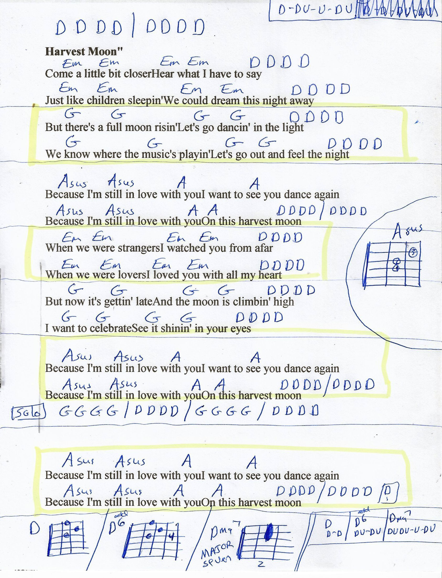 Harvest Moon Neil Young Guitar Chord Chart   Young guitar ...