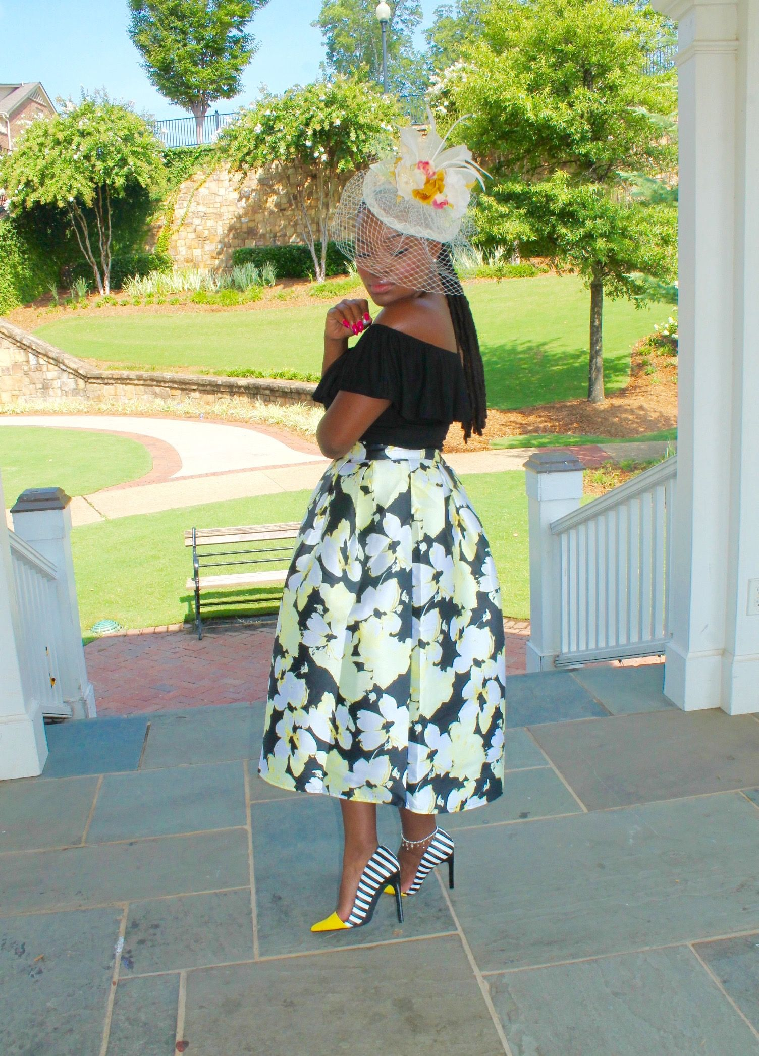 STYLE: TEA PARTY ATTIRE- FLORAL SKIRT X BODYSUIT | Tea party attire ...