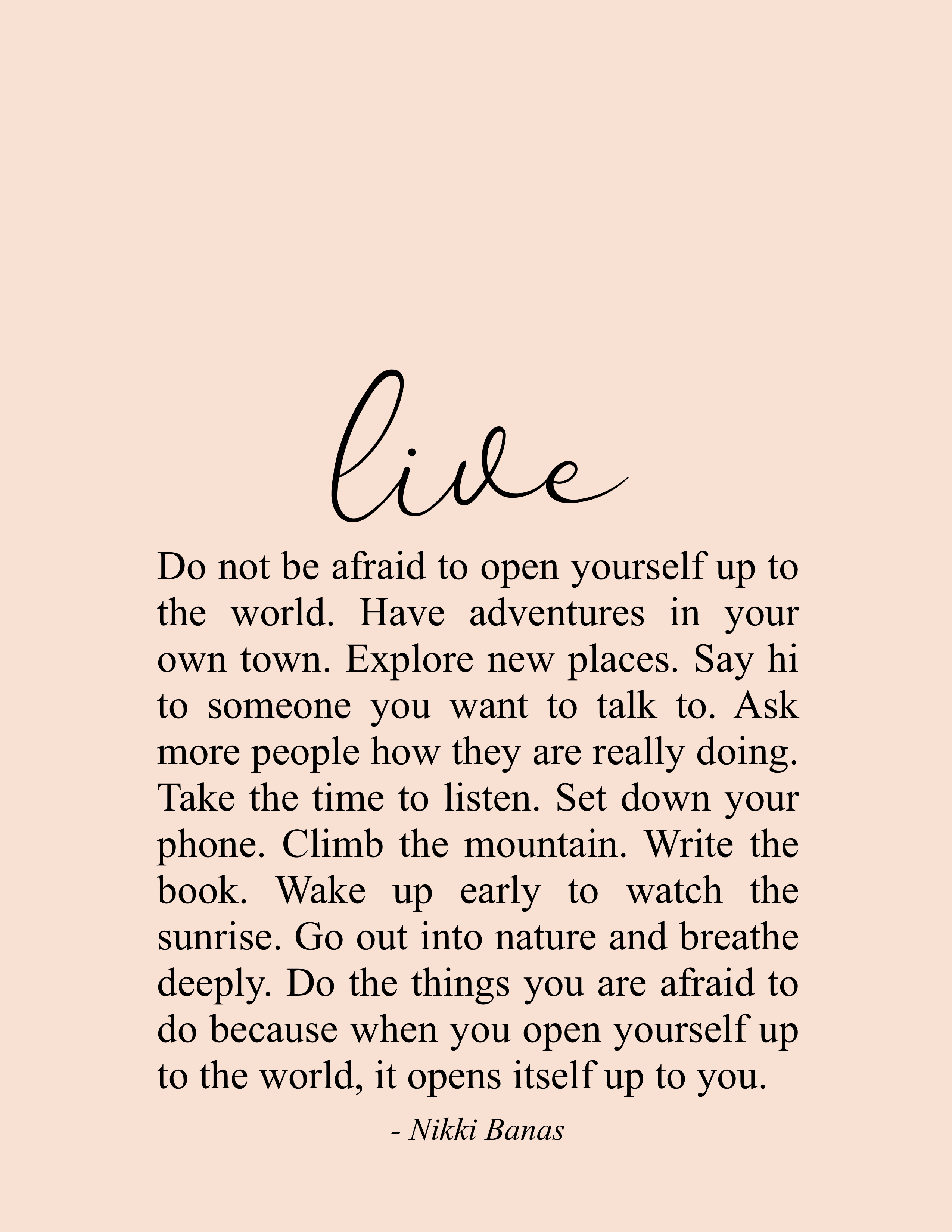 "Live 5.5"" x 5"" Print in 5  Soul love quotes, Words"