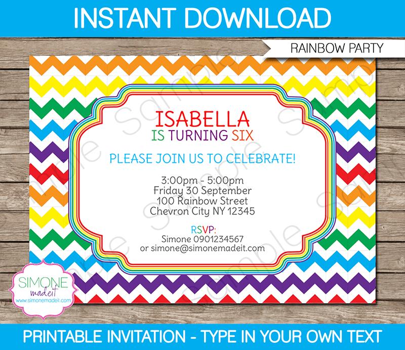 Rainbow Party Invitations Template | Rainbow party invitations ...