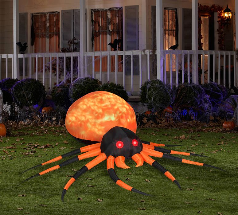 Massive Inflatable Orange Fire and Ice Projection Spider Spider - halloween inflatable decorations