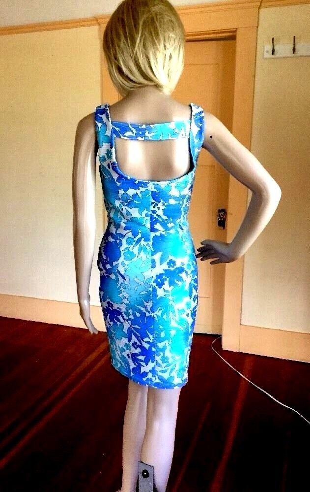 $12 FREE SHIPPING   Jennifer Lopez Sz XS Tropical Floral Aqua Sheath BodyCon Dress w #JenniferLopez #Sheath #Cocktail