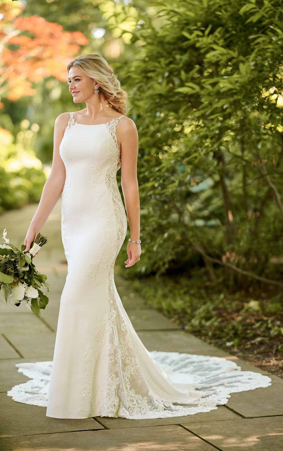 Crepe Wedding Gown with Lace Embellishments Essense of