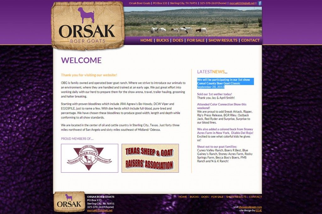 Orsak Boer Goats Rustic Web Design Leather Purple Gold