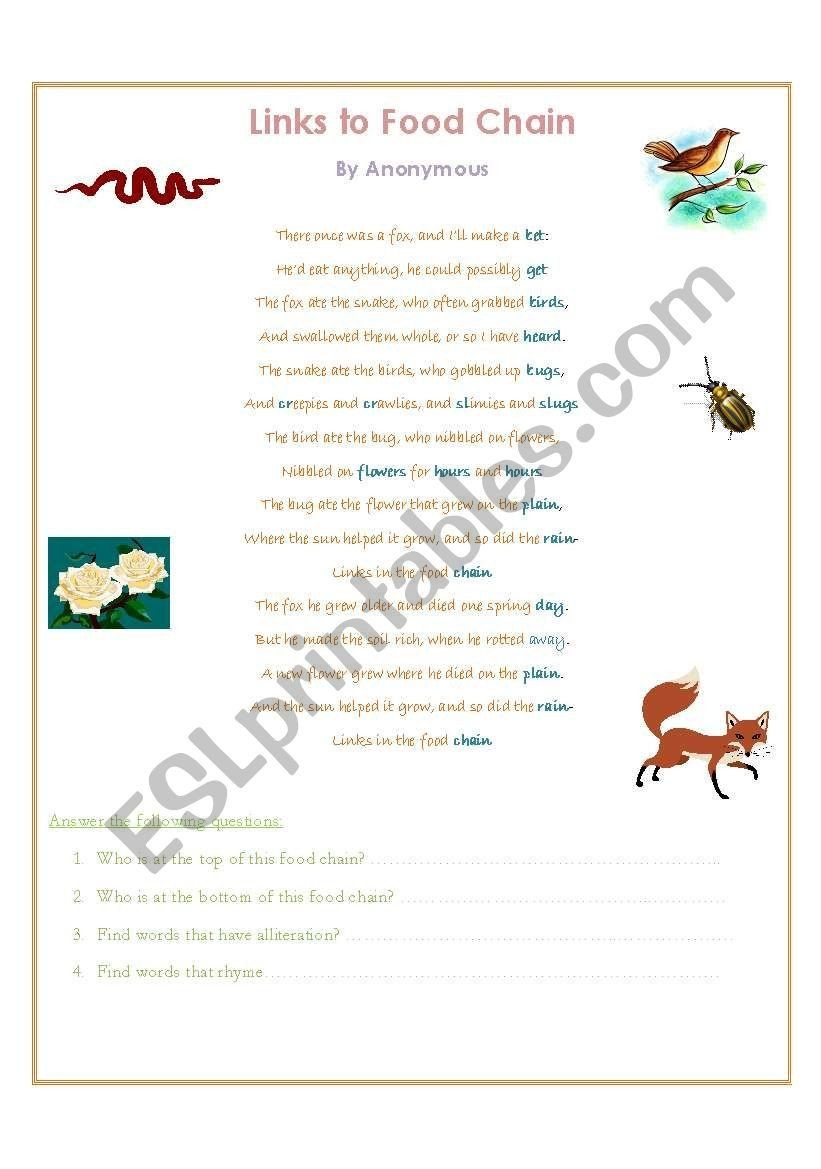 Food Chain Worksheet Answers Fox Poem Food Chain Esl Worksheet By Moon22 Food Chain Worksheet Food Chain Worksheets