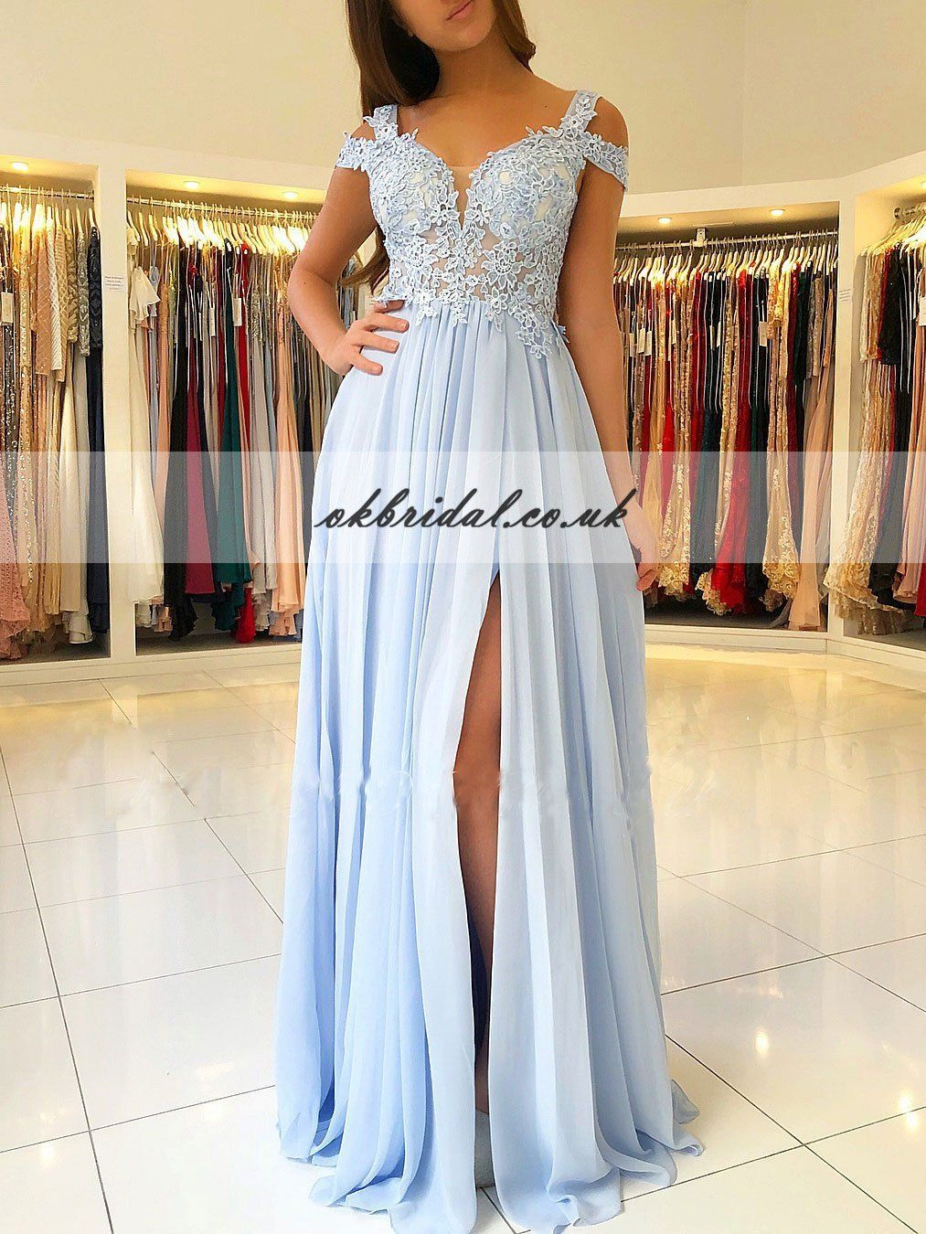 Cheap chiffon prom dress applique backless prom dress kx