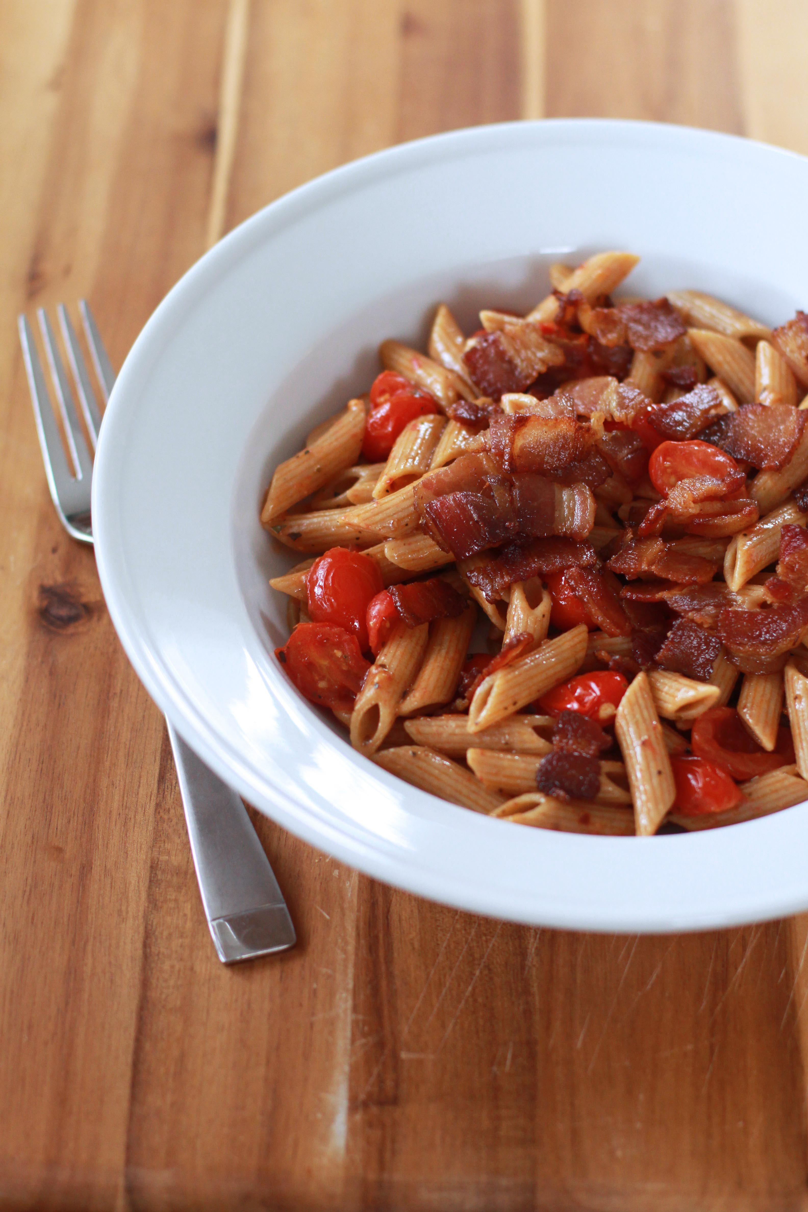 Bacon Tomato Pasta 1 | Espresso and Cream