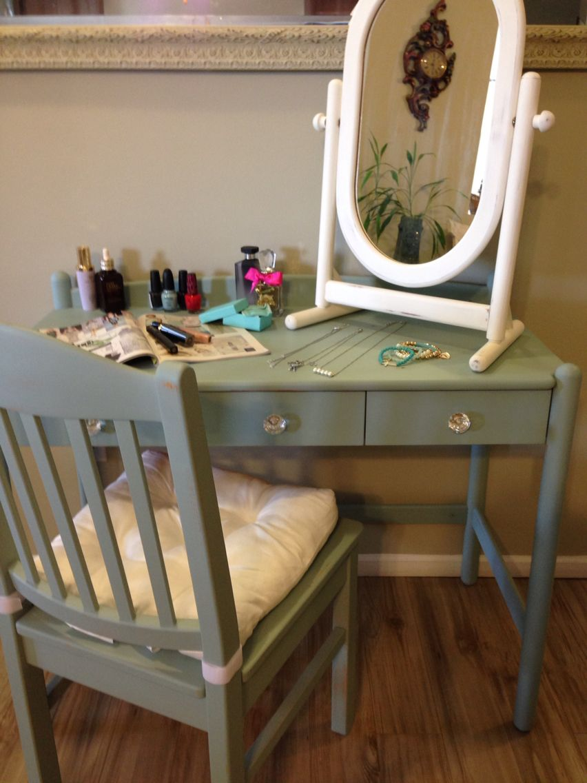 Distressed Shabby Chic Makeup Vanity With Chair And Stand Alone Mirror Using Van Gogh Fossil Paint