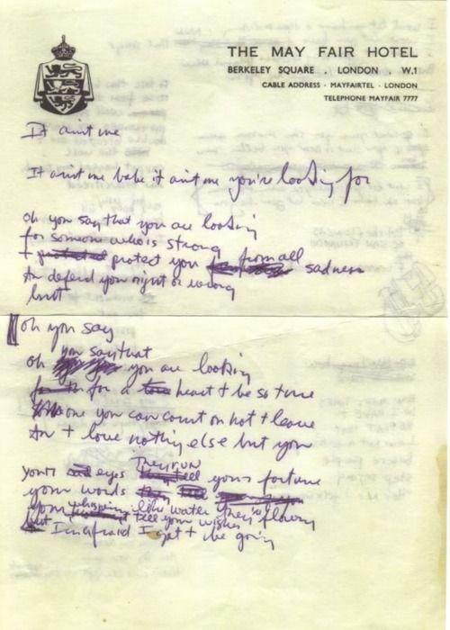 Bob Dylan's handwritten lyrics for