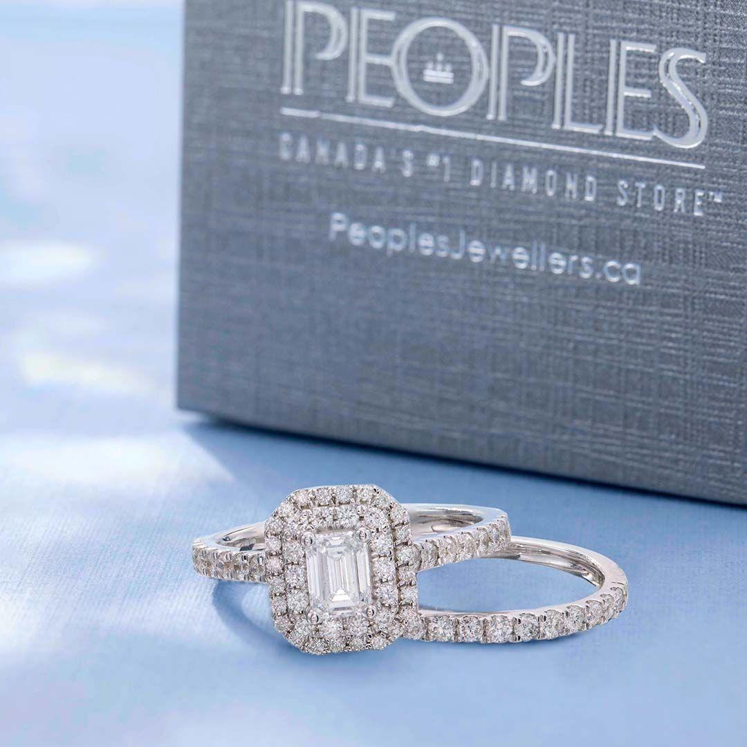 101e6d65cf598e T.W. Certified Canadian Emerald-Cut Diamond Double Frame Bridal Set in 14K  White Gold (I/I1)