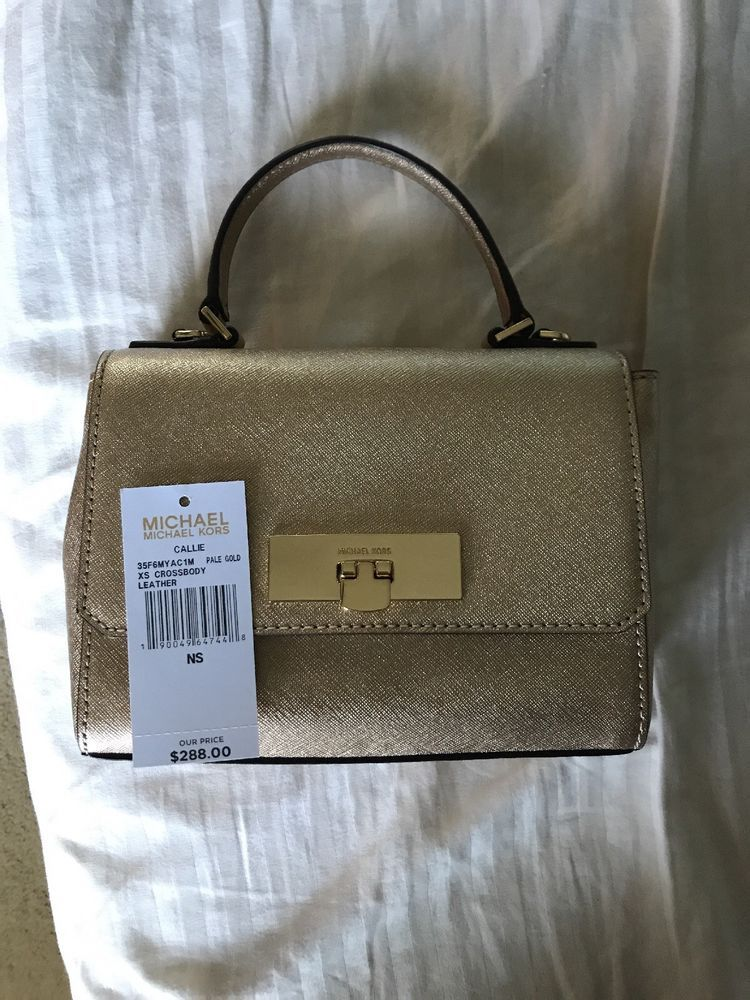 bc5d64d2f473 MICHAEL KORS Callie XS Crossbody Bag Leather Pale Gold NWT  fashion   clothing  shoes