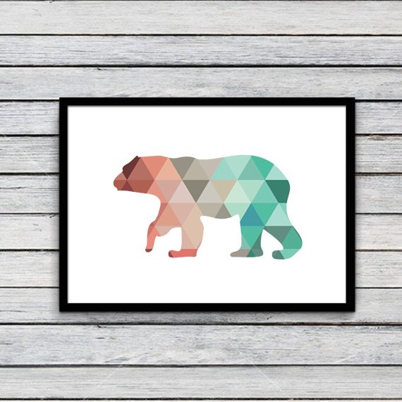 Colorful Polar Bear Canvas Art Print Poster, Wall Pictures for Home ...