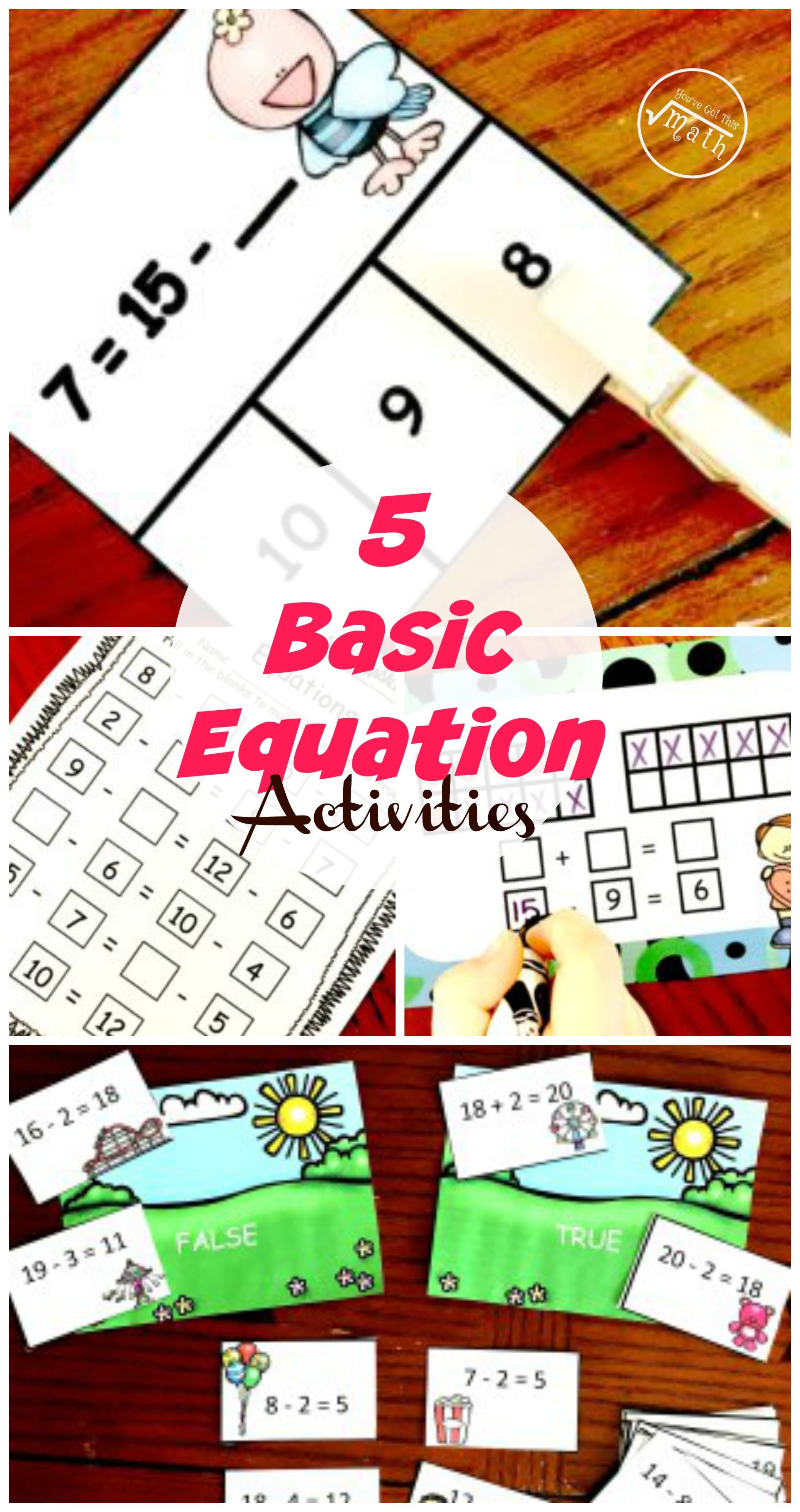 5 Equation Activities Kids learning activities, Algebra