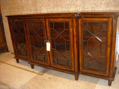 Marvelous Sideboard Buffet Cabinet Console Table Burl Chippendale Style Glass Doors  New