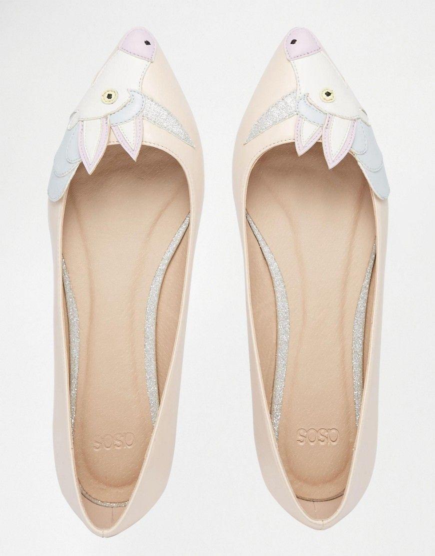 7a0d98e6f38149 ASOS LULAMOON Pointed Unicorn Ballet Flats