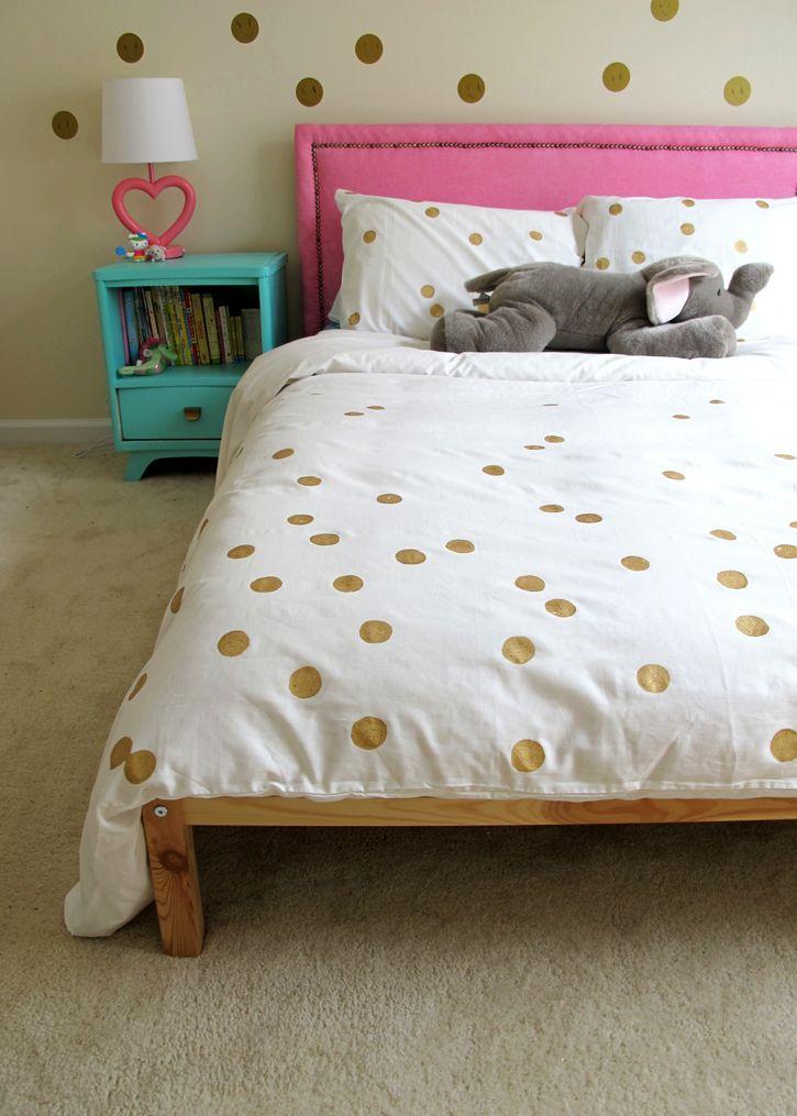 Simple Gold Dot Duvet Diy Tag Tibby Design Duvet Cover Diy Diy Duvet Diy Bed