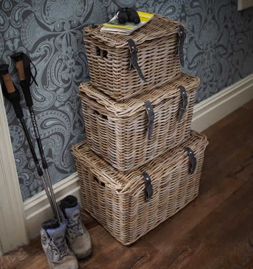 Set of 3 Fishermans Wicker Baskets made from rattan