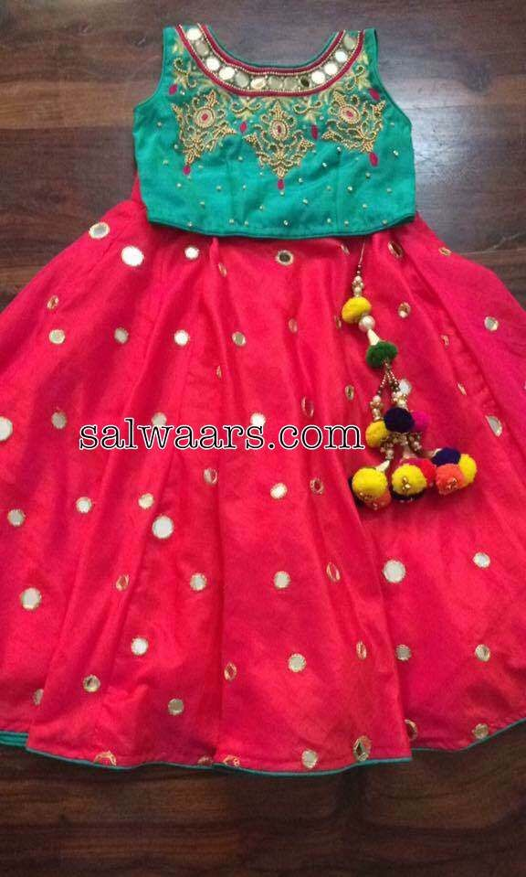bfb96d81eba49 Red Mirror work Lehenga Blouse - Indian Dresses