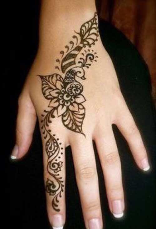 Mehndi Back Hand Flower : Classic henna flower tattoo on left hand