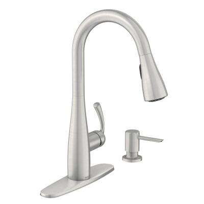 Moen Essie Single Handle Pull Down Sprayer Kitchen Faucet With Reflex And Power Clean In Spot Resist Stainless 87014srs The Home Depot Kitchen Faucet Kitchen Faucets Pull Down Touchless Kitchen Faucet