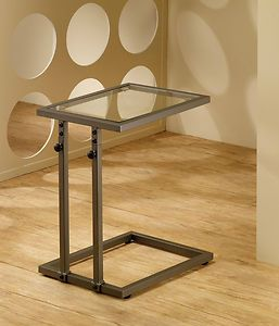 Superb Adjustable Snack C Sofa End Table With Tempered Glass Top Contemporary