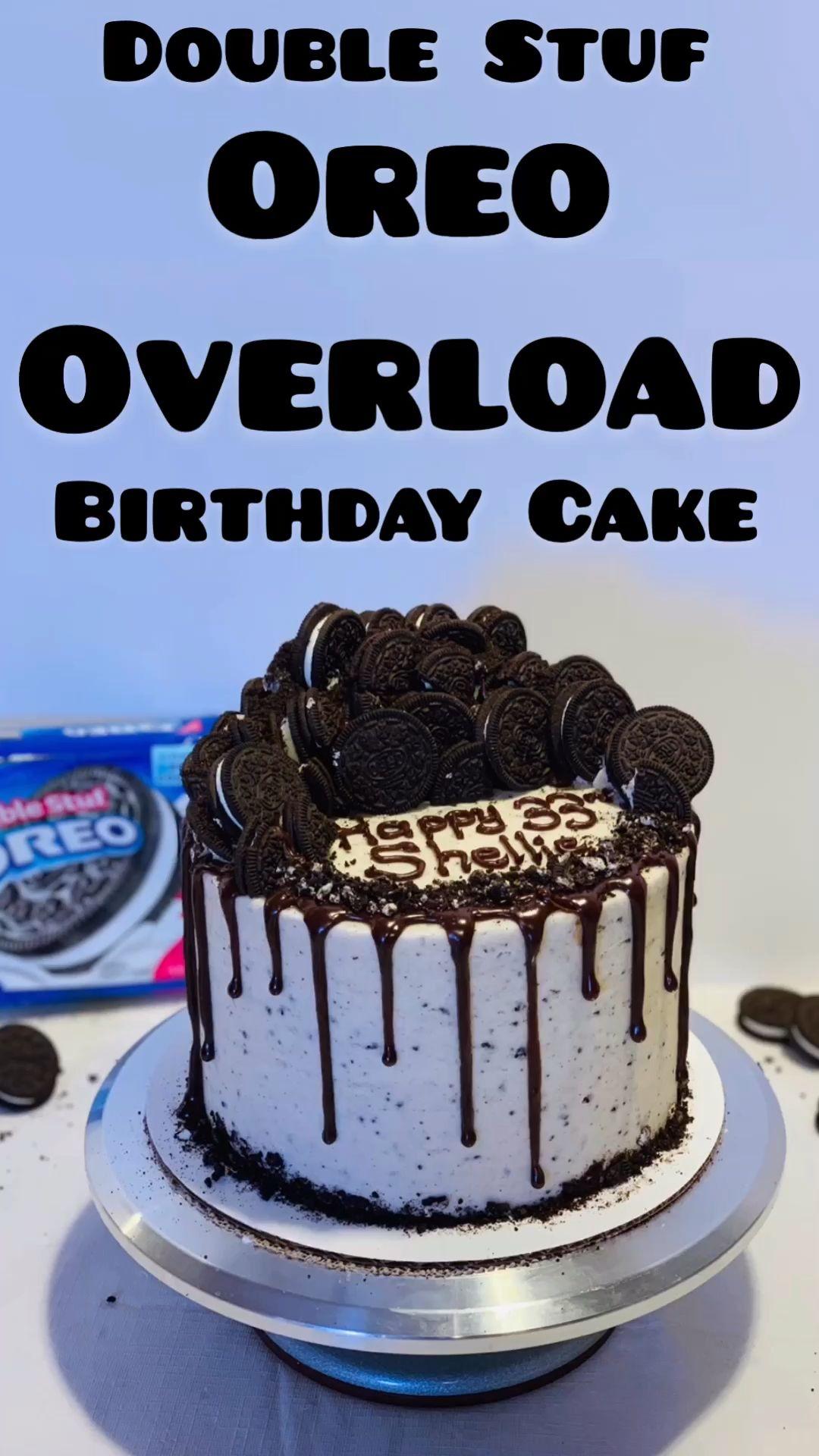 Peachy Oreo Overload Cake Video Video With Videos Oreo Cake Funny Birthday Cards Online Kookostrdamsfinfo
