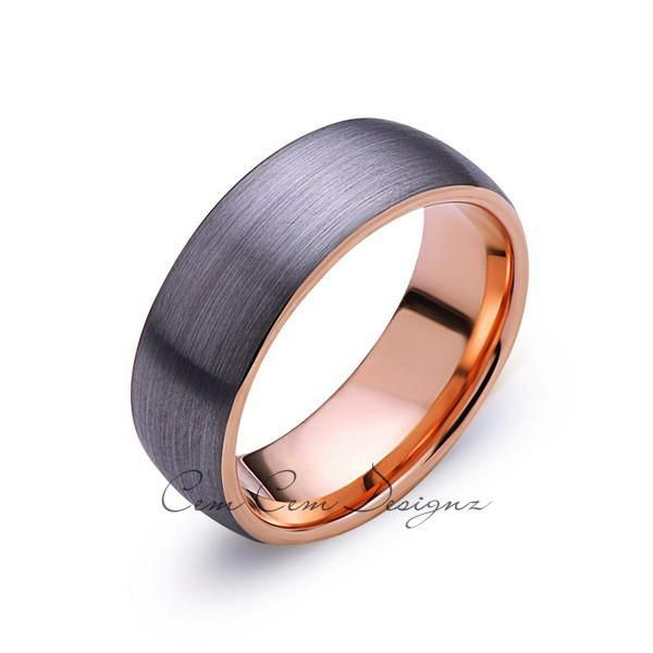 Rose Gold Tungsten Wedding Band Gray Brushed Tungsten Ring 8mm Dome Mens Ring Tungsten Carbide Engagement Band Comfort Fit Tungsten Wedding Bands Mens Wedding Bands Tungsten Mens Wedding Rings