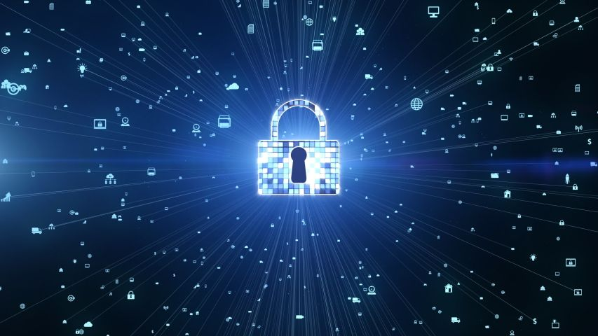 Lock Icon Cyber Security, Digital Stock Footage Video (100