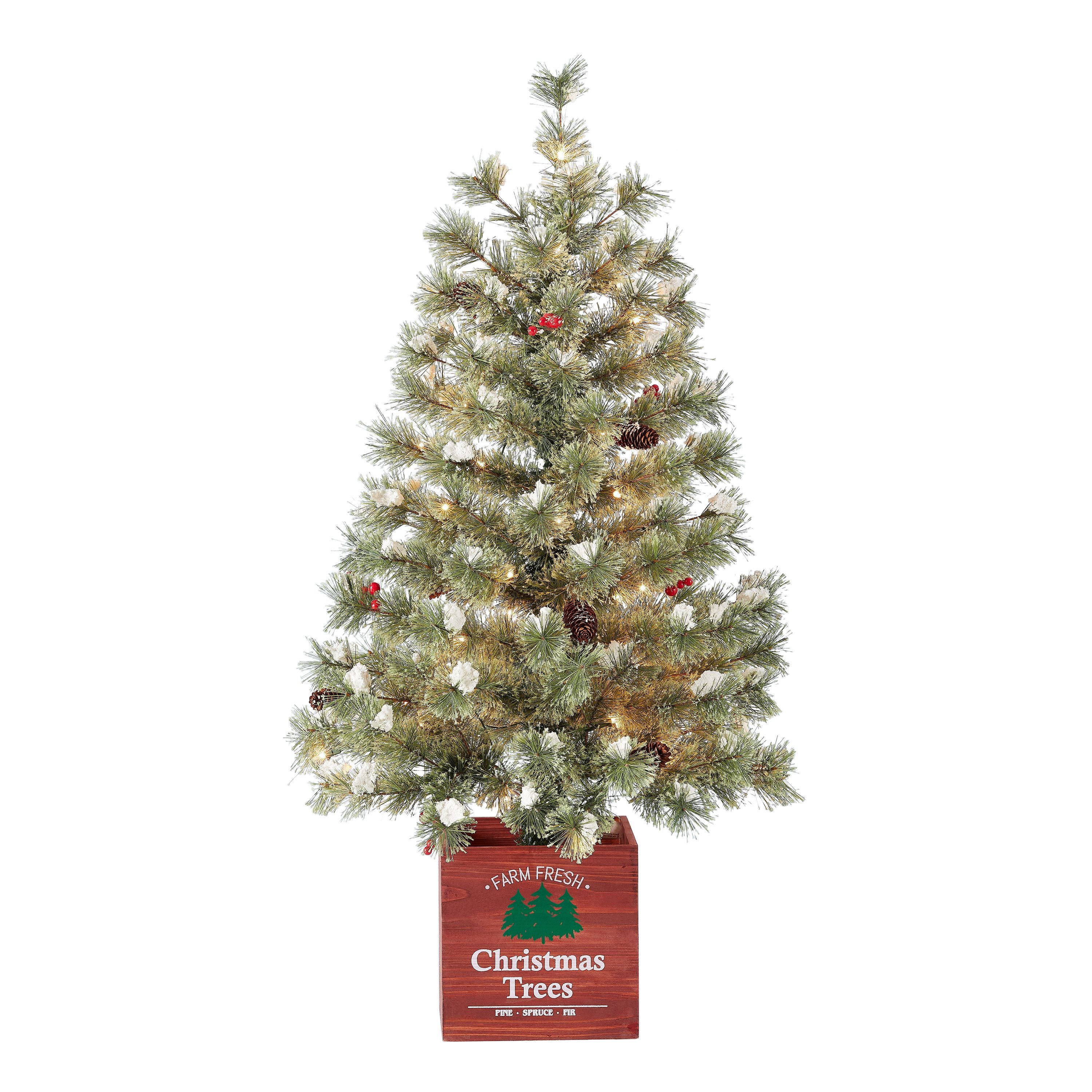 Holiday Time Pre Lit Porch Christmas Tree In Wood Pot White Lights Green Color 3 5 Walmart Com In 2020 Porch Christmas Tree Pre Lit Christmas Tree Pine Christmas Tree